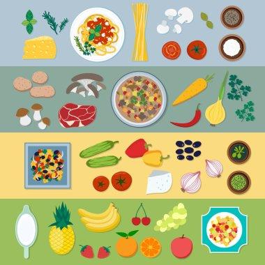 Food ingredients vector flat illustration