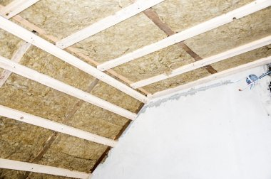 Thermal insulation rockwool,  in a roof