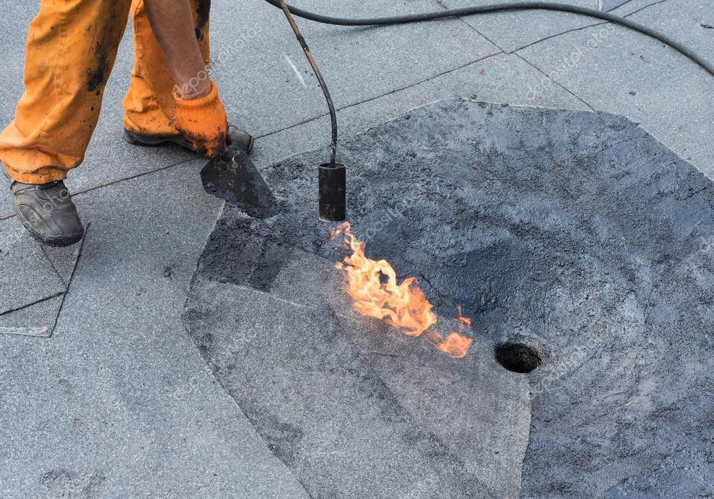 Dachdecker Reparatur Dach Abfluss Zu Tun Stockfoto C Plysuikvv