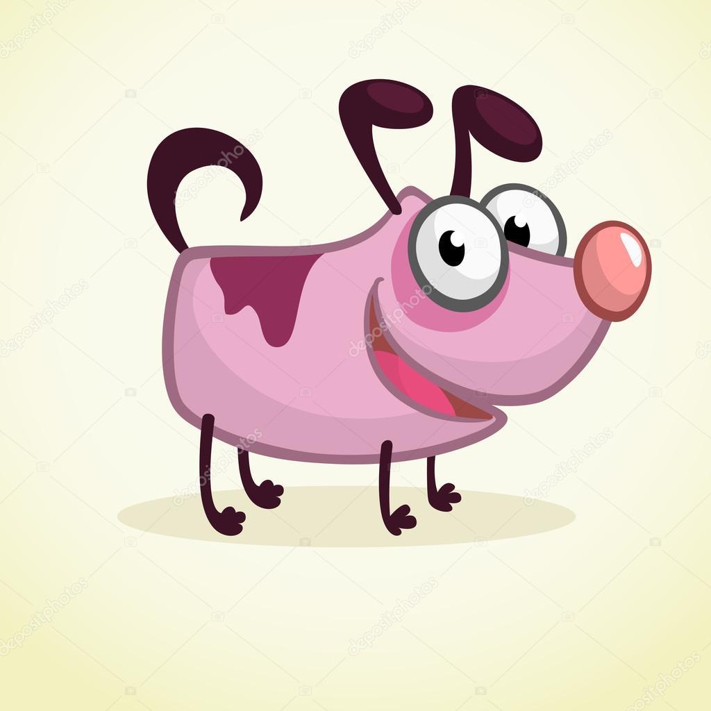 Simpatico cartone animato rosa cane illustrazione di