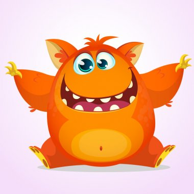 Vector cartoon of an orange fat and fluffy Halloween monster. Cute monster with big ears smiling and waving. Monster logo or icon. Illustration of a silly cartoon monster with a big smile wants a hug