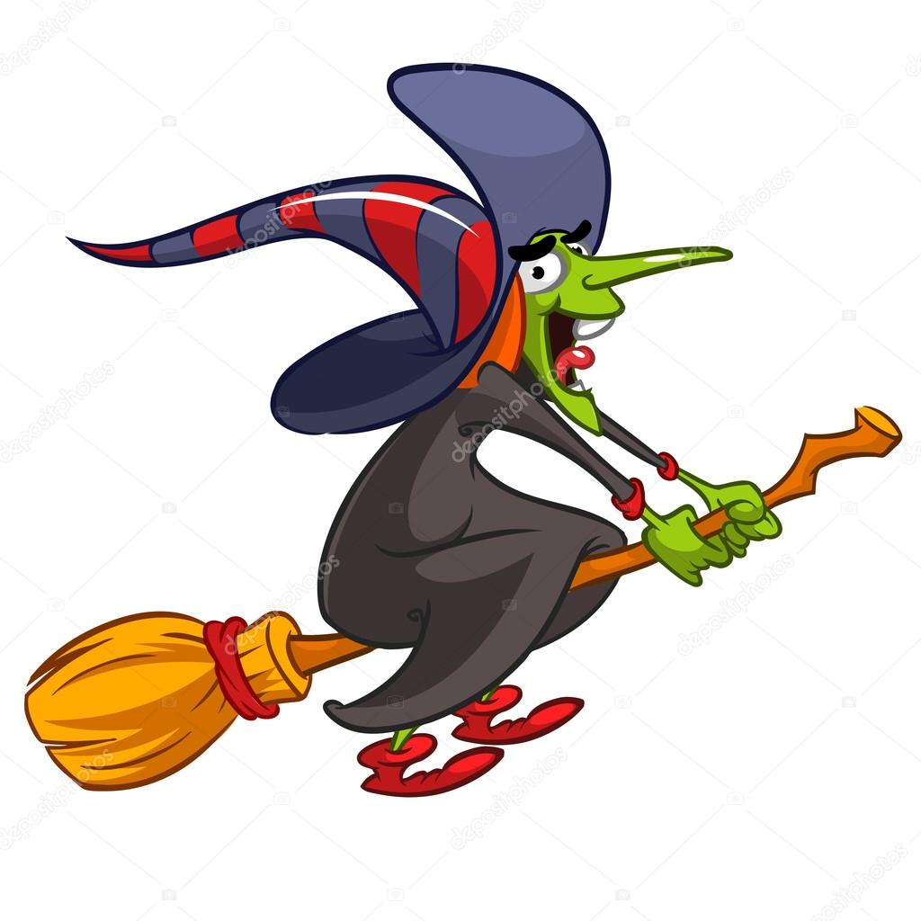 Cartoon witch flying on a broom. Vector Halloween illustration with a funny witch isolated on ...