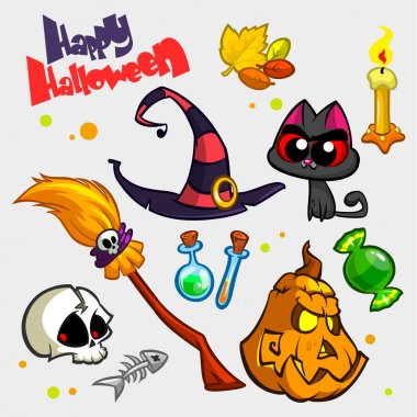 Vector set of Halloween pumpkin and attributes icons. Witch cat, pumpkin head, skull, witch hat, poison bottle, broomstick, big candy, candle and fish skeleton.