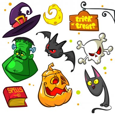 Set of Halloween pumpkin and attributes icons. Witch cat, pumpkin, skull, witch hat, frankenstein, book of spells, trick or treats sign and bat