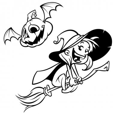 Halloween witch flying on her broom outlines. Black silhouette of cartoon witch. Coloring book