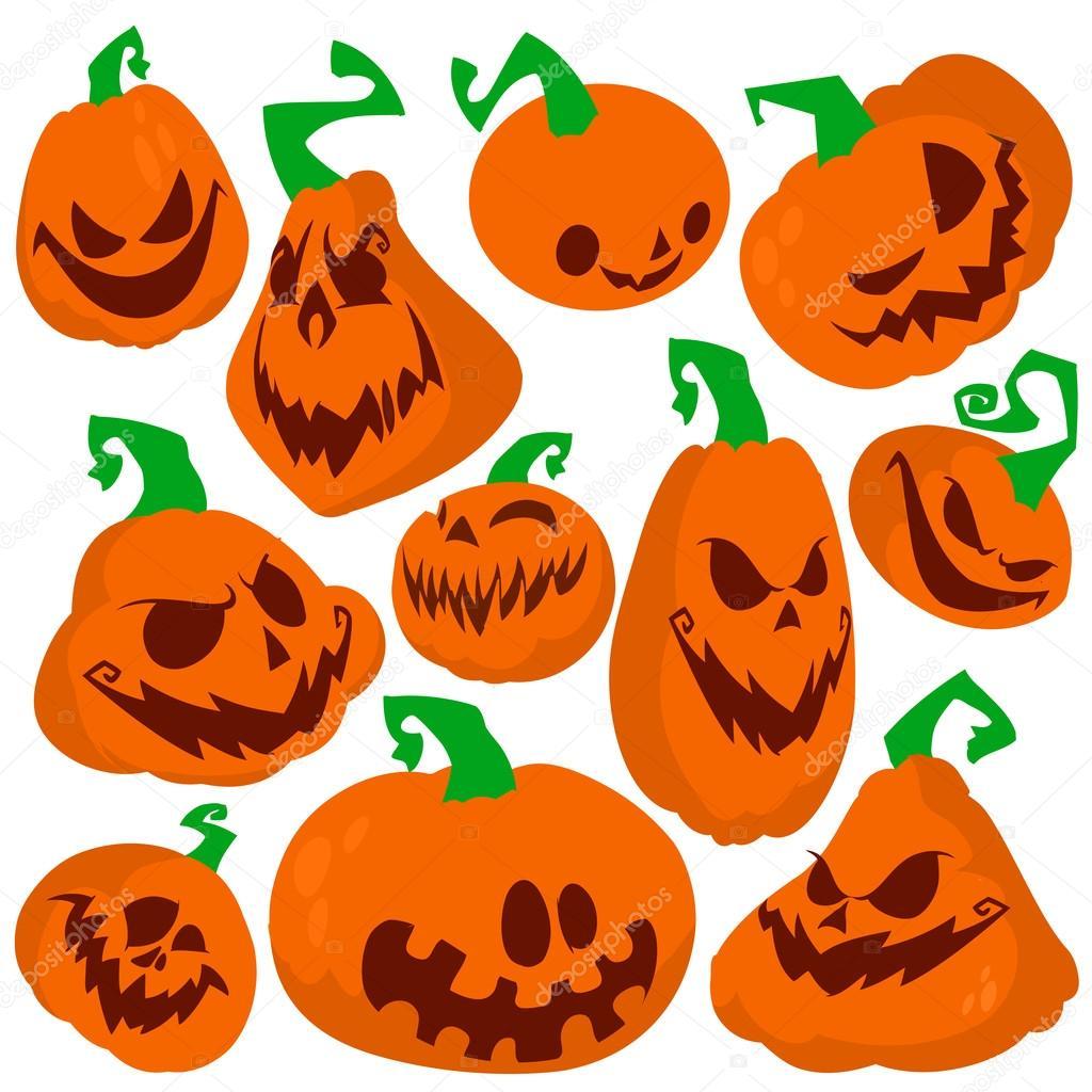 Funny Halloween pumpkins set vector illustration. Flat style ...