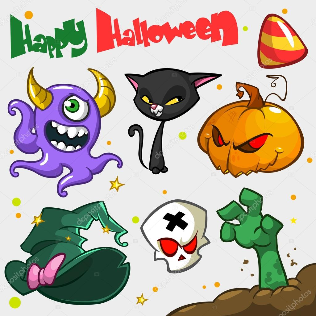 Vector set of Halloween pumpkin and attributes icons for ...
