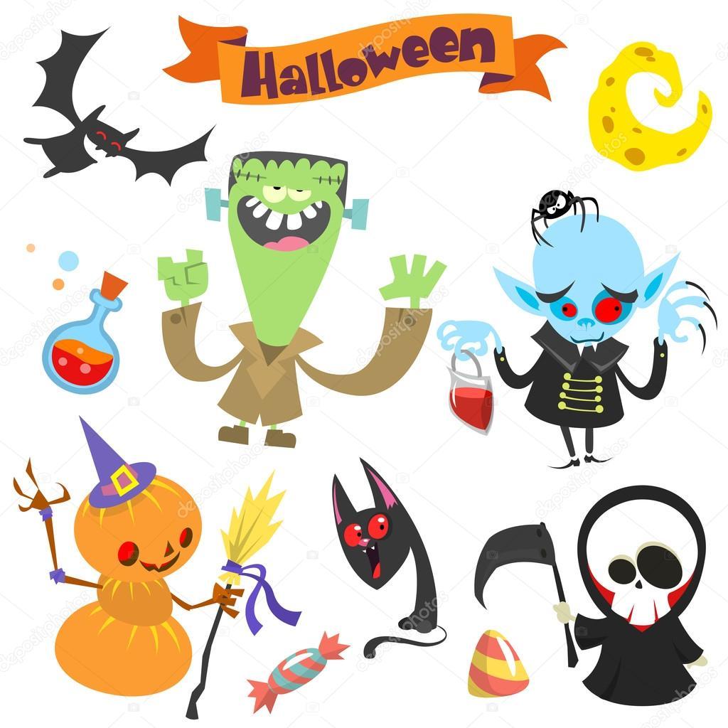 cute cartoon halloween characters icon set frankenstein pumpkin