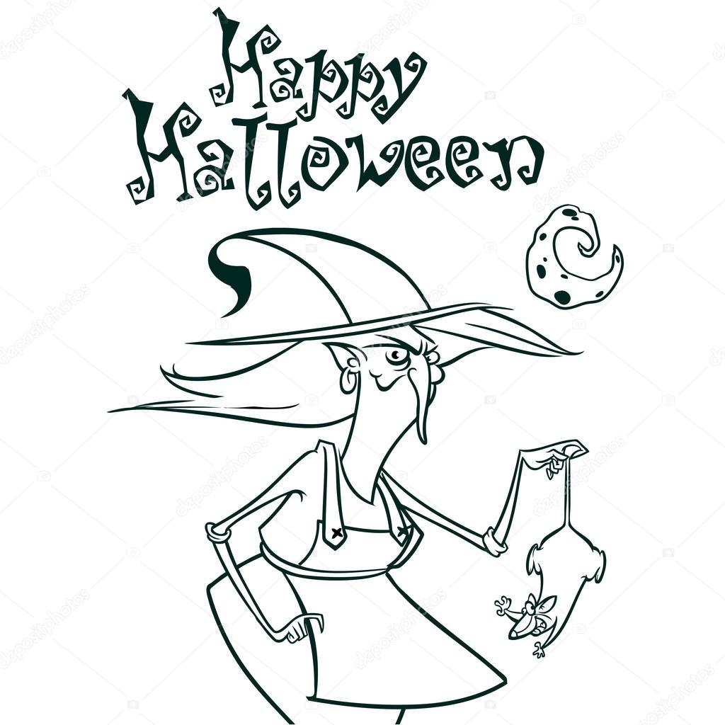 halloween witch in hat holding a rat in her hand outlines. vector