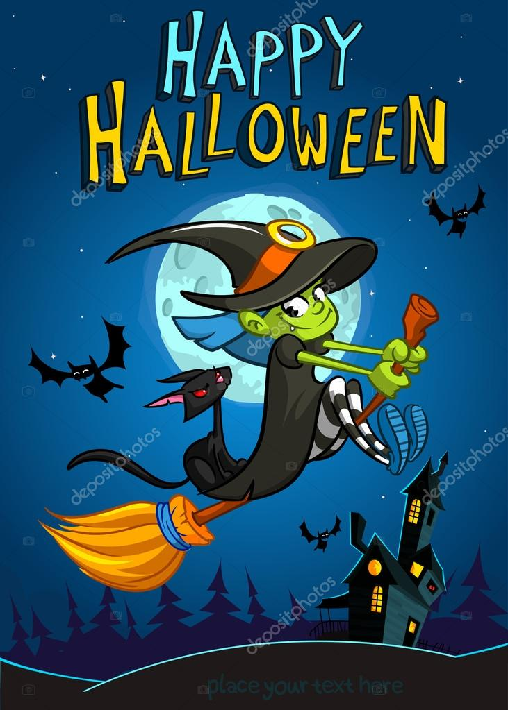 Halloween witch with broomstick isolated on night background vector halloween witch with broomstick isolated on night background vector halloween party invitation template halloween stopboris Images