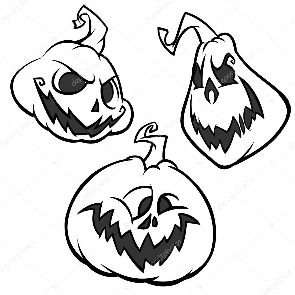 vector set of back and white scaring halloween pumpkins with various