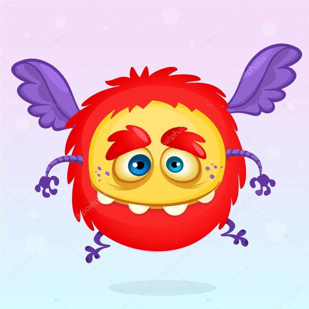 Cute Cartoon Flying Monster Halloween Vector Fluffy Red Monster Stock Vector C Drawkman Gmail Com 121648544