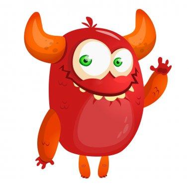 Cute cartoon monster. Halloween vector red monster