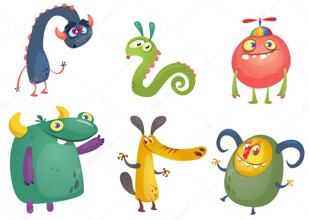 dibujos animados de monstruos conjunto de vectores de monstruos de