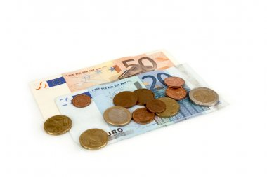 Banknotes and coins cent euro on a white background