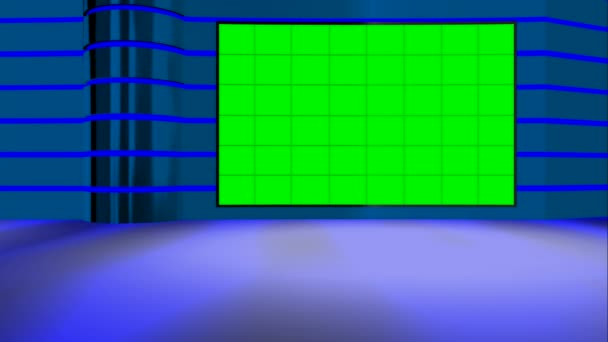 Animated chroma key green shiny virtual set from all camera angles close up wide side standing siting up down single double anchor useful for technology science news space based broadcasting programs