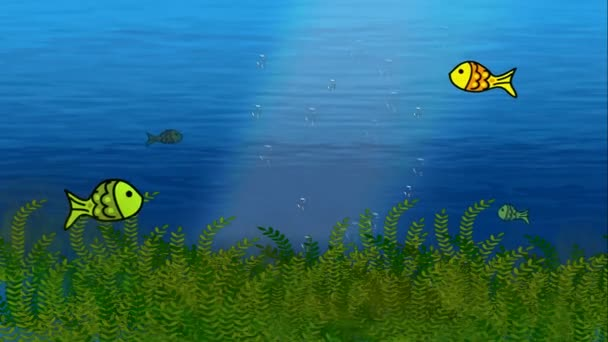 Animated loop able colorful big and small fishes swimming under ocean water tank with plants useful for broadcasting kids nature life science children knowledge information for babies program