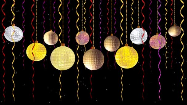 Animated moving shiny balls of vivid colors golden yellow pink and silver in black night with falling snow or glow object in background useful in christmas new year and other festive celebration