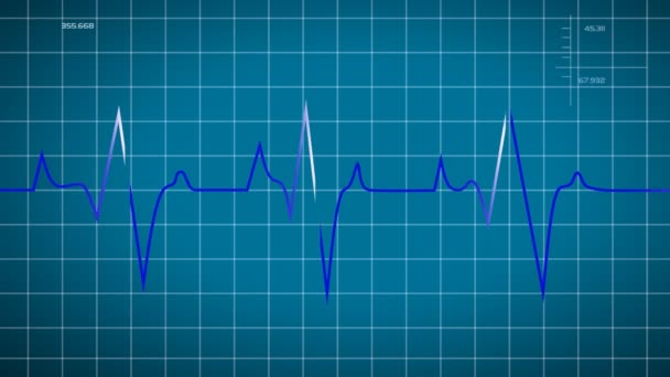 Animated loop able heart beat graphic depicted on blue graph background useful for science medicine and technology based program
