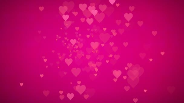 Animovaná smyčka mnoho pohyblivých malých růžových červených srdcí pozdrav pro přání oslavit Valentýnský den a virtuální sadu pro zábavu slavnostní hollywoodský filmový televizní program