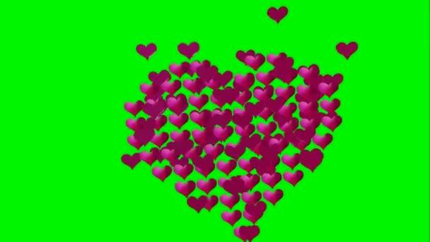 Mnoho animovaných růžových malých srdcí se zvětšuje a kontrakt vytvoří velké srdce na růžovém lesklém pozadí pro vysílací programy založené na milostném vzrušení Valentýnské manželství rodinné vazby nebo zdraví