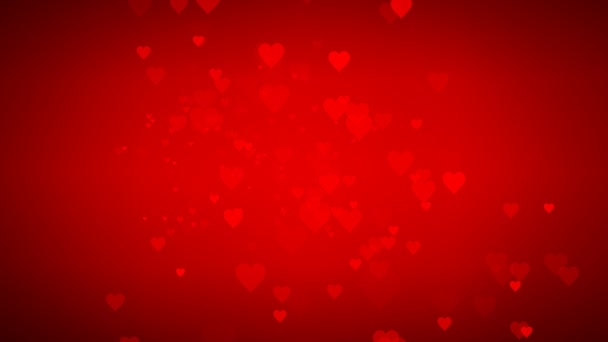 Animovaná řada pohybujících se malých červených srdcí užitečných pozdravů pro přání a oslavu Valentýna a virtuální sadu pozadí