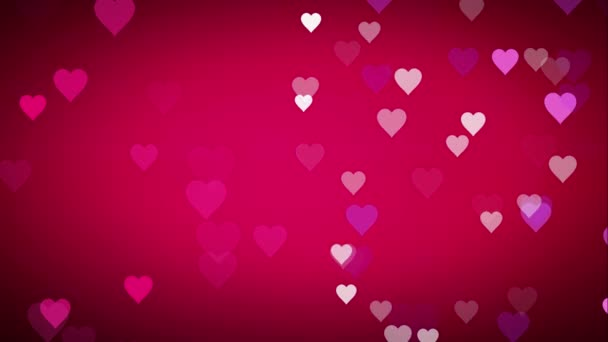 Animated many moving small pink purple white hearts on pink black background useful greeting for wishing and celebrating valentines day or emotion happiness based and a virtual set backdrop texture