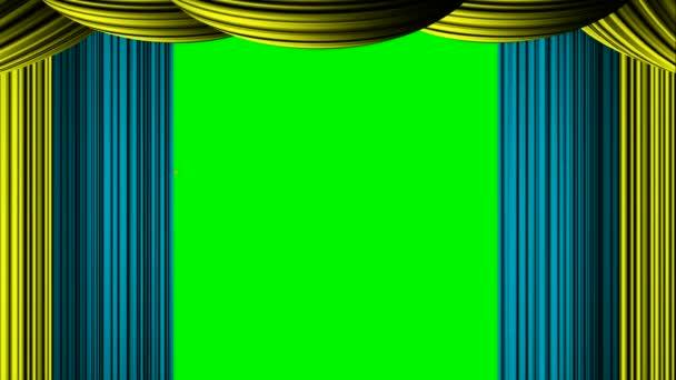 Animiertes Zoomen golden Cyan Sterne Vorhang für green-Screen-Chroma ...