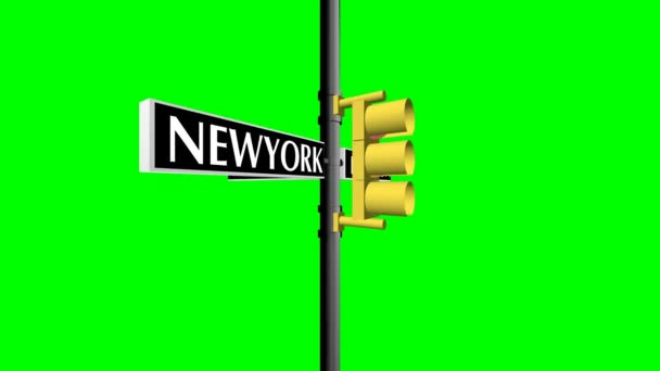 Animated nice visual slow moving wall street sign crossroad green screen chroma key backdrop useful for business industry stock share commodity forex trading finance market base broadcasting program