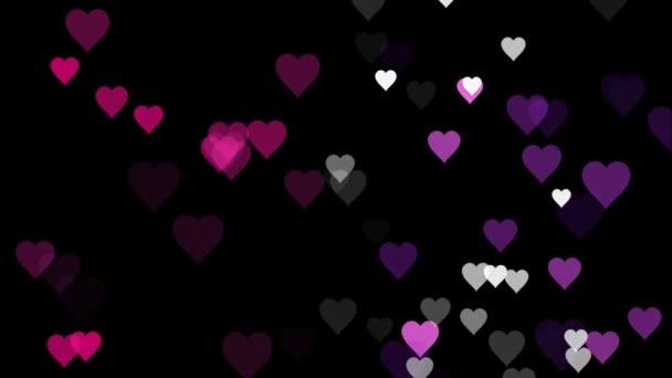 Animált sok mozgó kis rózsaszín lila fehér szívek fekete háttér hasznos köszöntés kívánó és ünneplő Valentin nap, és egy virtuális háttérhátteret textúra