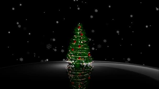 Dark Christmas.Animated Shiny Lights On Green Christmas Tree With Designer Snow Flowers Falling In The Dark Black Background Useful For Celebration Festival Season As Virtual Set Backdrop For Broadcasting Programs