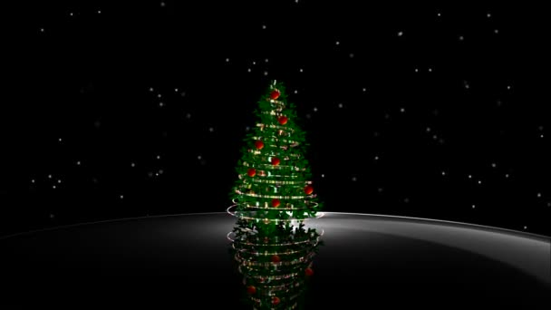 Animated shiny lights on green Christmas tree with designer snow flowers falling in the dark black background useful for celebration festival season as virtual set backdrop for broadcasting programs