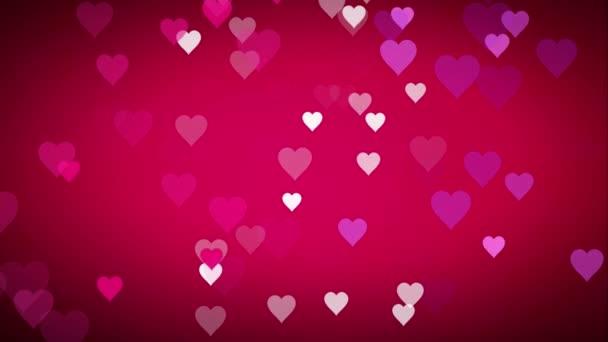 Animált sok mozgó kis rózsaszín lila fehér szívek a rózsaszín fekete háttér hasznos köszöntés kívánó és ünneplő Valentin nap vagy érzelem boldogság alapján, és a virtuális meg hátteret textúra