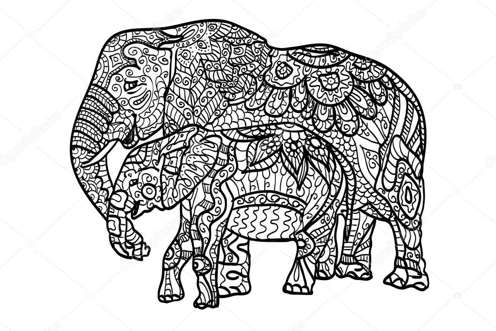 anti stress et relaxant coloriages lphants rempli le motif fantaisie noir et blanc main illustration dessine en vectoriel maman lphant et son petit - Coloriage Dtente