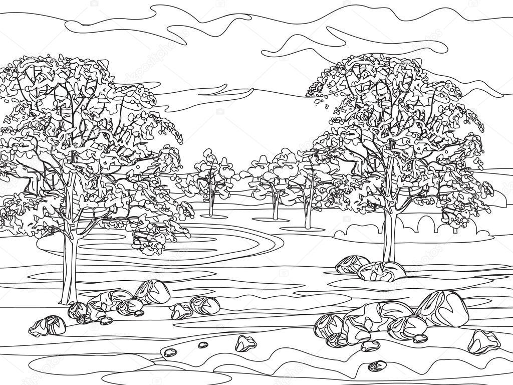 Ausmalbilder Für Erwachsene Landschaften : Hand Zu Zeichnen Dekorative Landschaft B Ume Und Steine
