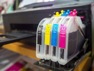 digital printing press, closeup of the toner cartridges