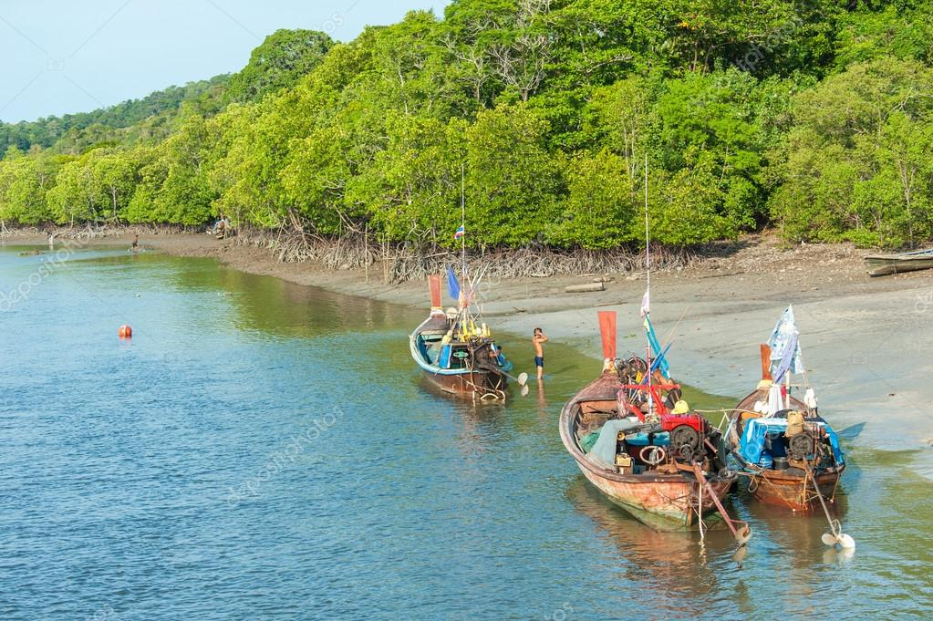 Fishing boats in sea and mangrove forest of Thailand