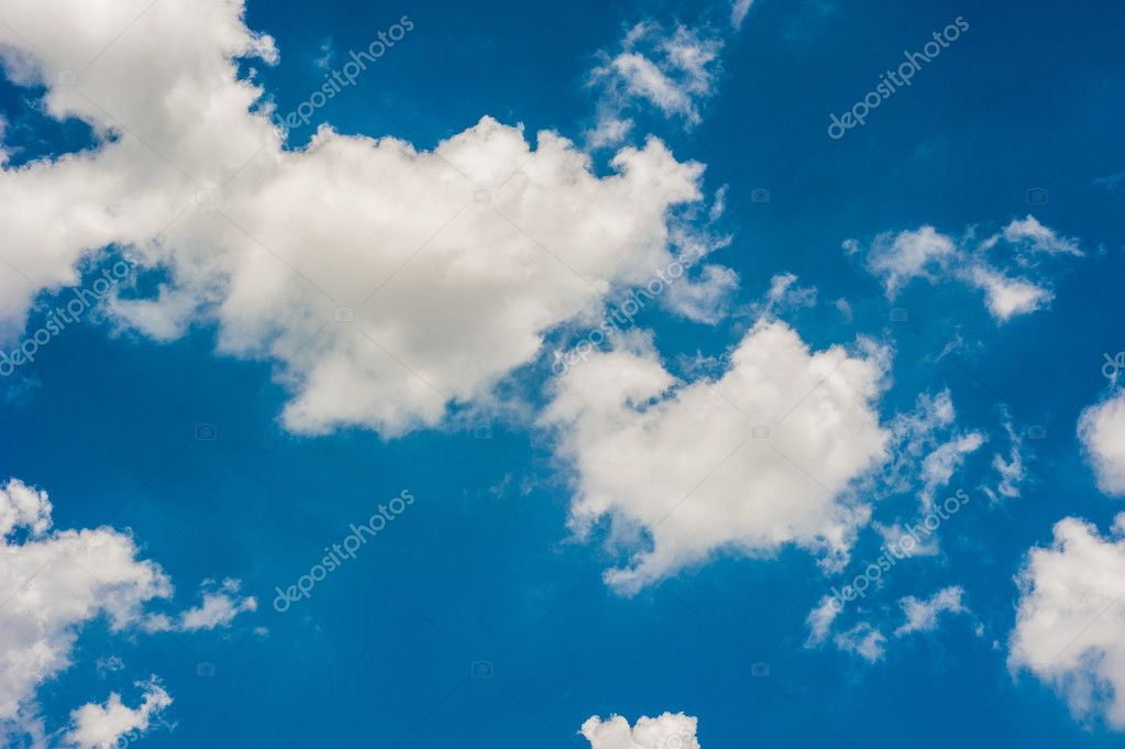 blue sky with clouds closeup landscape