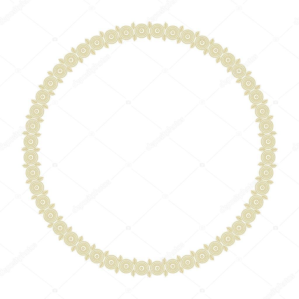 Marco floral redondo para su diseño. Hojas y diente de León dibujado ...