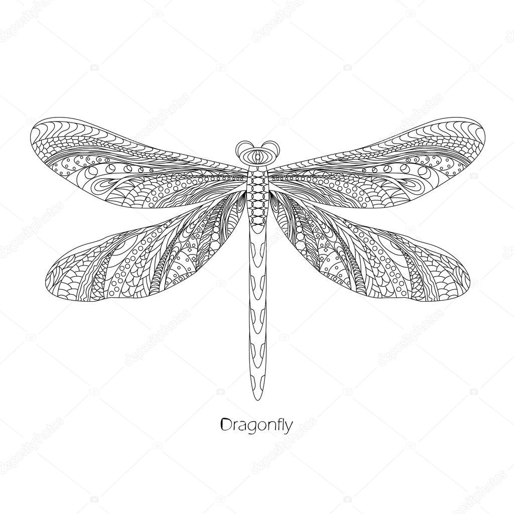 Para colorear libélula Doodle dibujo — Vector de stock © werikb77 ...