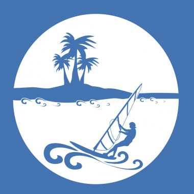 Windsurfing silhouette on the background of palm trees