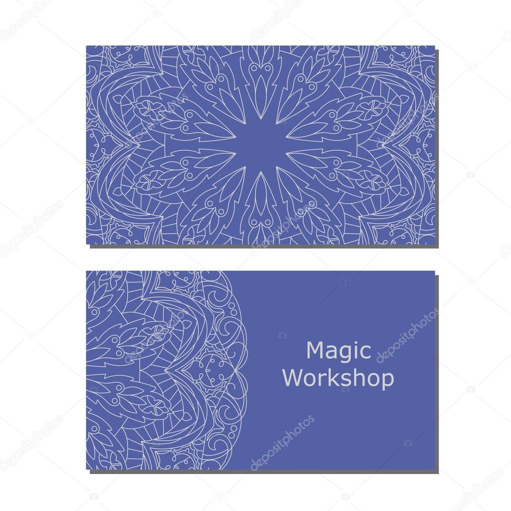 Modeles De Carte Visite Avec Couleur Ornement Mandala Pour Imprimer Ou Site Web Illustration Vectorielle Modele Vecteur Par