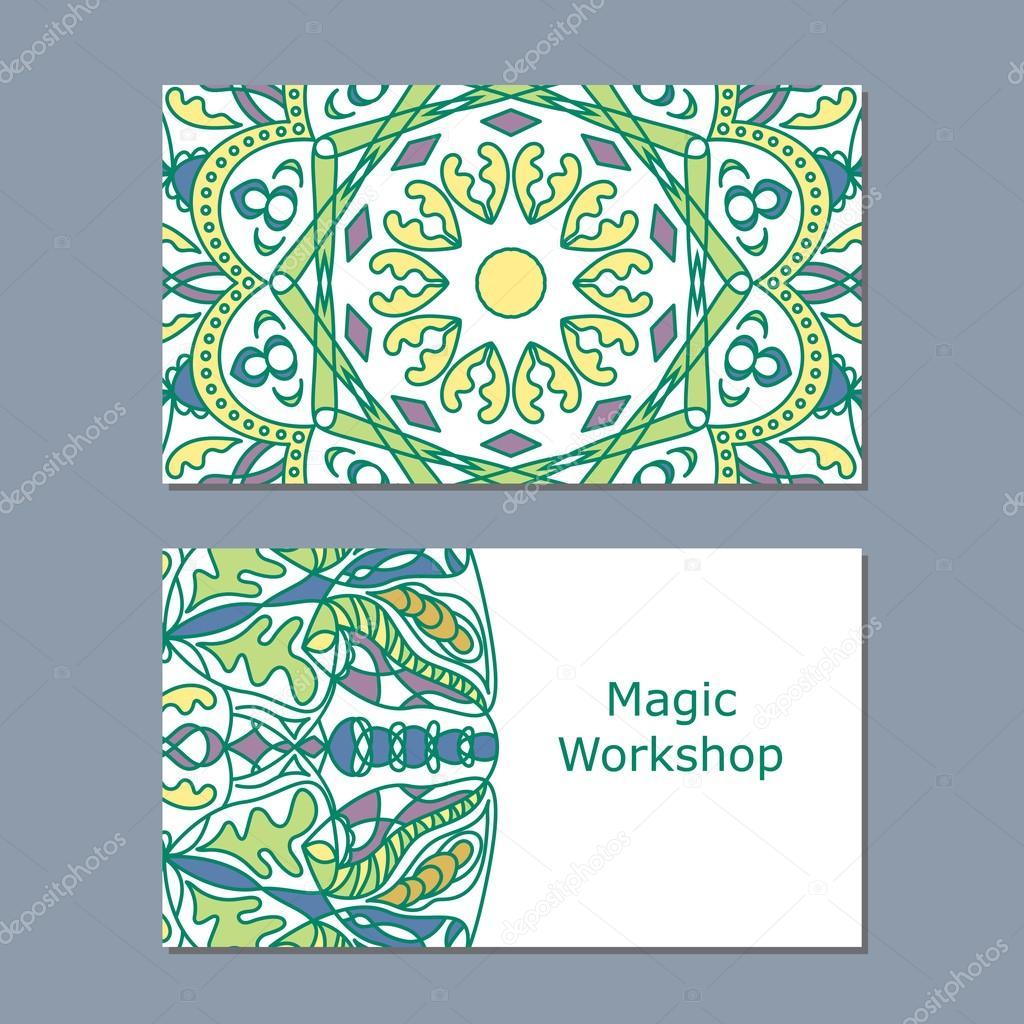 Modles De Carte Visite Avec Couleur Ornement Mandala Pour Imprimer Ou Site Web Illustration Vectorielle Modle Vecteur Par