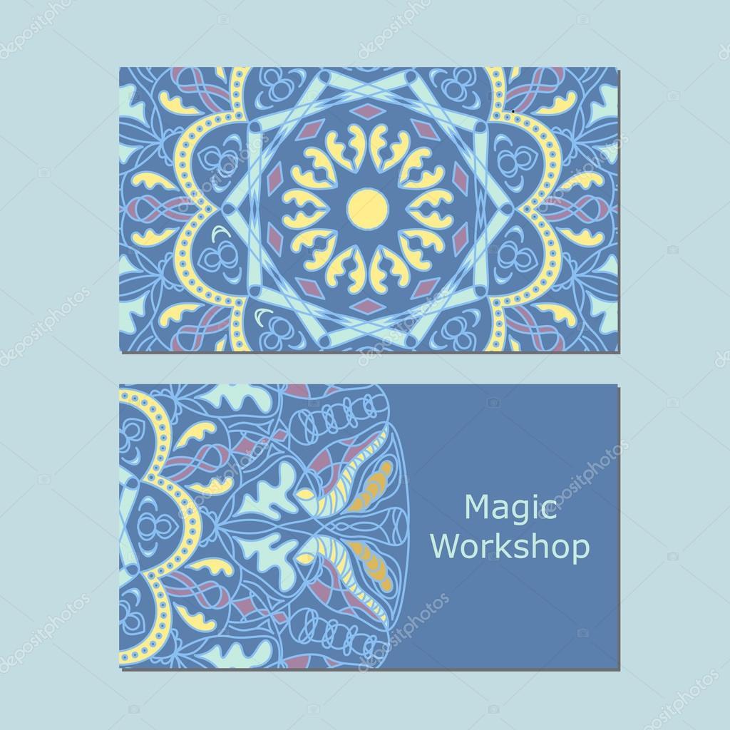 Plantillas de tarjeta de visita con mandala de ornamento - Plantilla mandala pared ...
