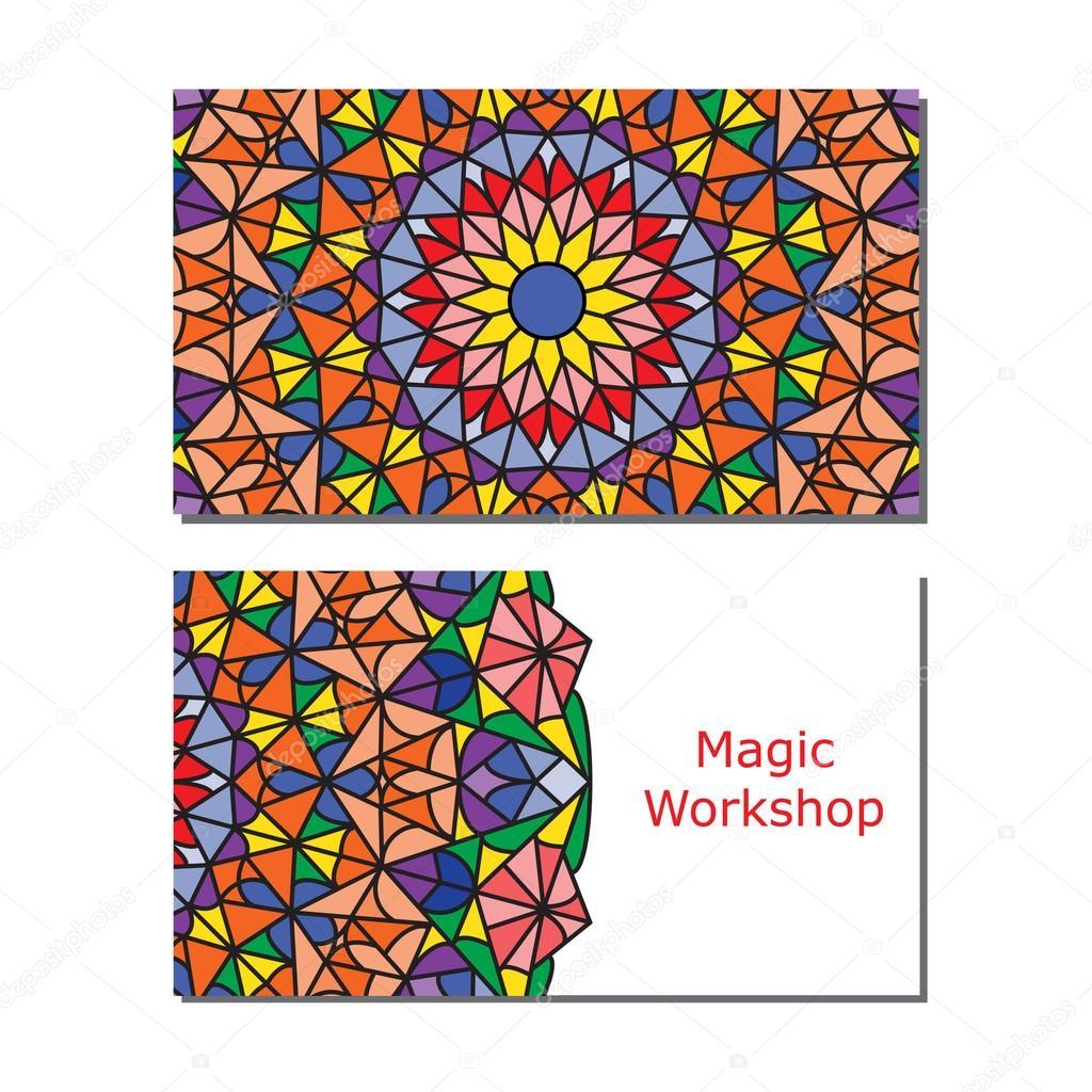 Mod les de carte de visite avec mandala ornement couleur - Modele de mandala ...