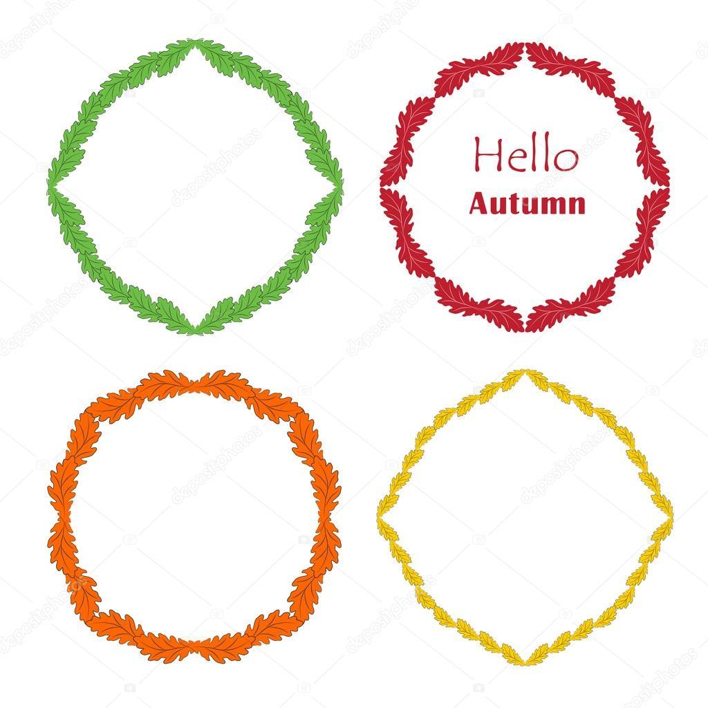 Herbst setzen einen Rahmen aus Eichenlaub Hallo Herbst — Stockvektor ...