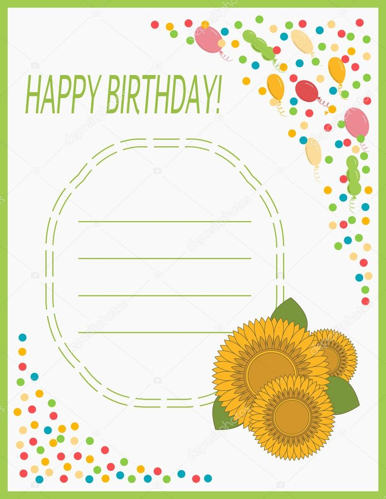Greeting card happy birthday with flowers sunflower stock vector greeting card happy birthday with flowers sunflower stock vector izmirmasajfo