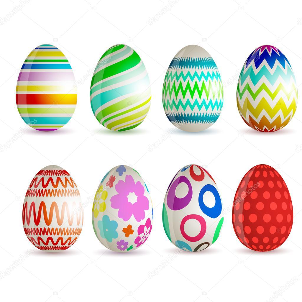 Conjunto de 8 diferentes huevos de pascua vector de - Videos de huevos de pascua ...
