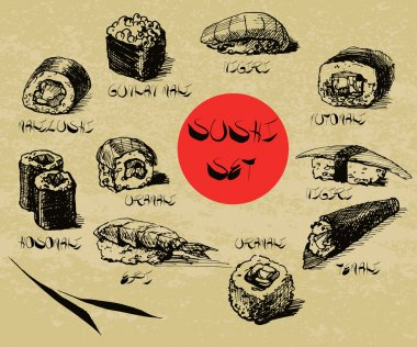 Vector hand drawn sushi set with calligraphic text. Sushi, rolls