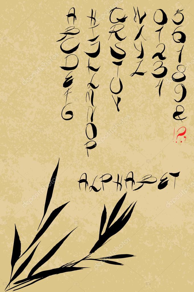 1eb50cc750 Handwritten english alphabet. Asian (Chinese